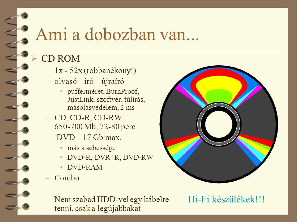 Ami a dobozban van...  CD ROM –1x - 52x (robbanékony!) –olvasó – író – újraíró •pufferméret, BurnProof, JustLink, szoftver, túlírás, másolásvédelem,
