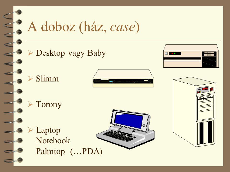 A doboz (ház, case)  Desktop vagy Baby  Slimm  Torony  Laptop Notebook Palmtop (…PDA)