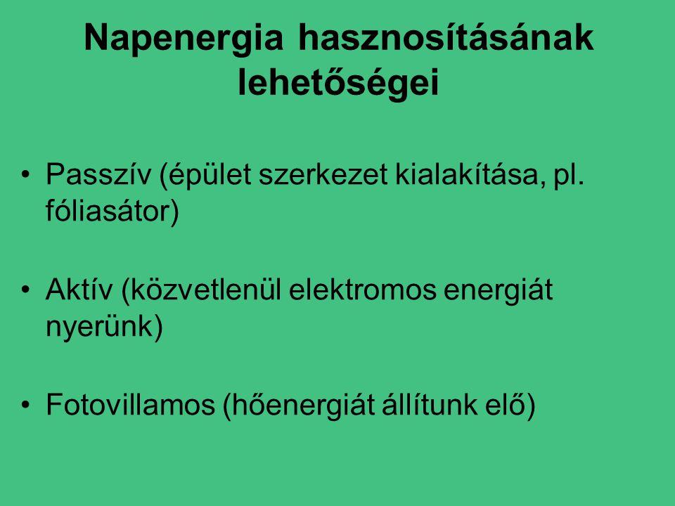 Napenergia hasznosításának lehetőségei •Passzív (épület szerkezet kialakítása, pl.