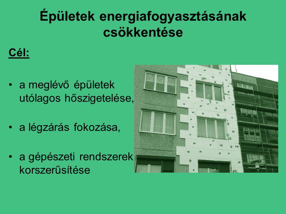 Épületek energiafogyasztásának csökkentése Cél: •a meglévő épületek utólagos hőszigetelése, •a légzárás fokozása, •a gépészeti rendszerek korszerűsítése