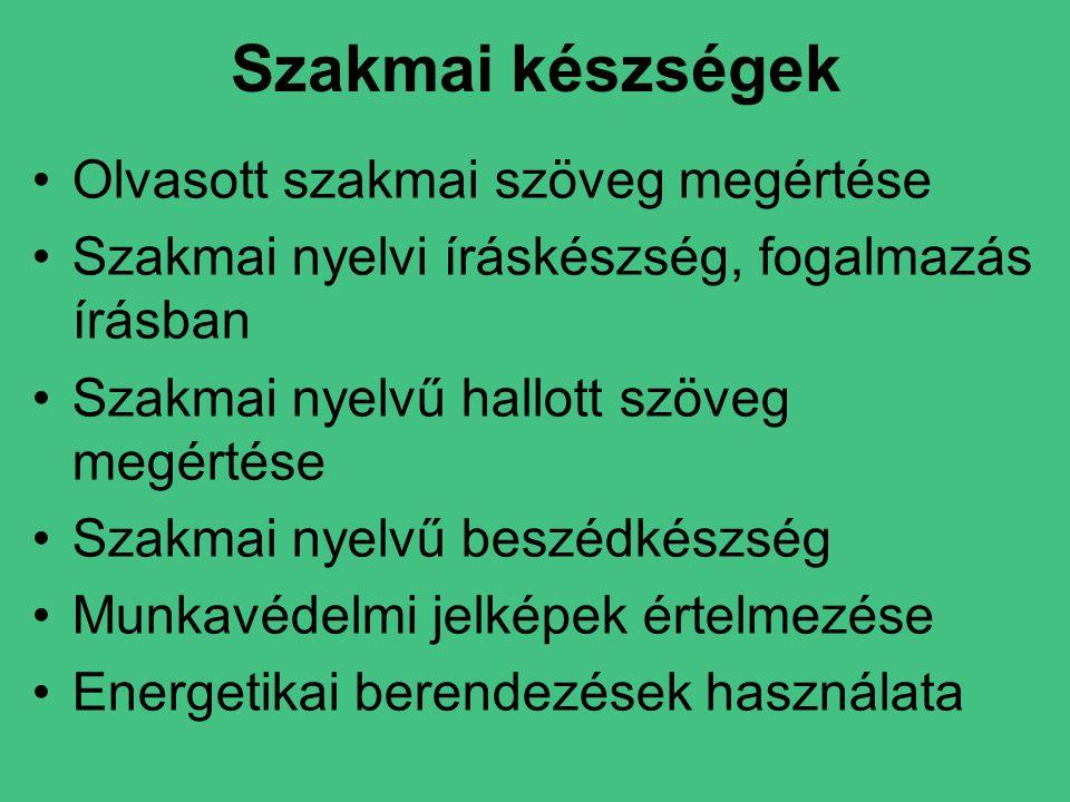 Szakmai készségek •Olvasott szakmai szöveg megértése •Szakmai nyelvi íráskészség, fogalmazás írásban •Szakmai nyelvű hallott szöveg megértése •Szakmai nyelvű beszédkészség •Munkavédelmi jelképek értelmezése •Energetikai berendezések használata