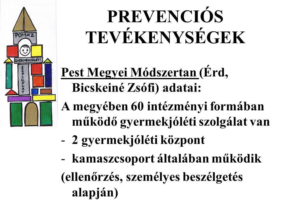 PREVENCIÓS TEVÉKENYSÉGEK Pest Megyei Módszertan (Érd, Bicskeiné Zsófi) adatai: A megyében 60 intézményi formában működő gyermekjóléti szolgálat van -2 gyermekjóléti központ -kamaszcsoport általában működik (ellenőrzés, személyes beszélgetés alapján)