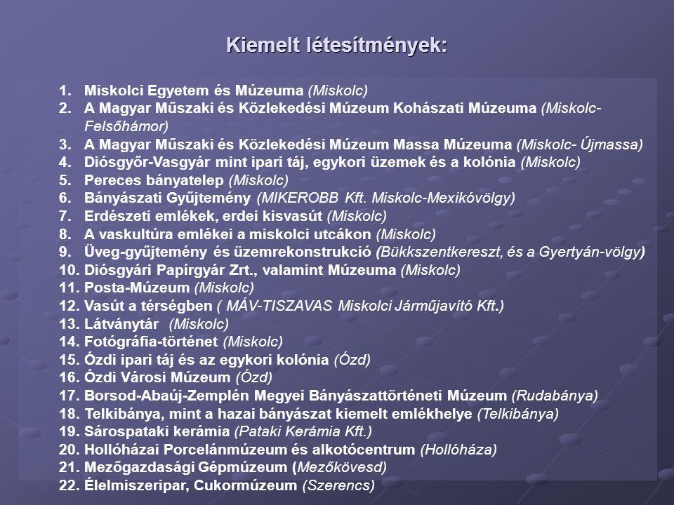 Kiemelt létesítmények: 1.Miskolci Egyetem és Múzeuma (Miskolc) 2.A Magyar Műszaki és Közlekedési Múzeum Kohászati Múzeuma (Miskolc- Felsőhámor) 3.A Ma