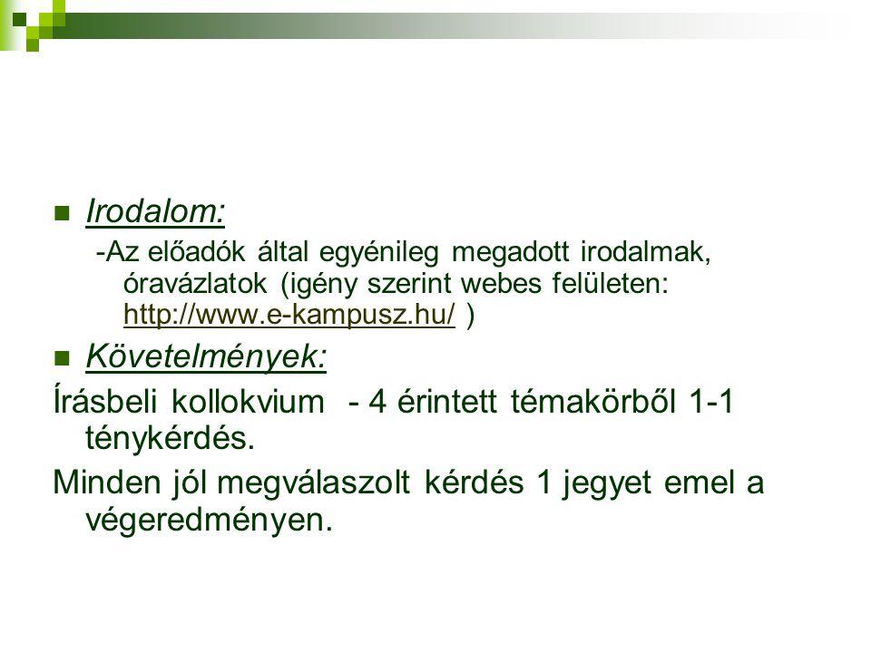  Irodalom: -Az előadók által egyénileg megadott irodalmak, óravázlatok (igény szerint webes felületen: http://www.e-kampusz.hu/ ) http://www.e-kampusz.hu/  Követelmények: Írásbeli kollokvium - 4 érintett témakörből 1-1 ténykérdés.