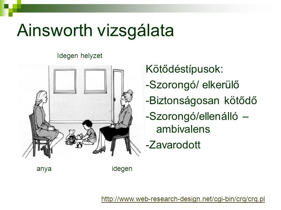 Kötődéstípusok: -Szorongó/ elkerülő -Biztonságosan kötődő -Szorongó/ellenálló – ambivalens -Zavarodott Idegen helyzet Ainsworth vizsgálata anyaidegen http://www.web-research-design.net/cgi-bin/crq/crq.pl