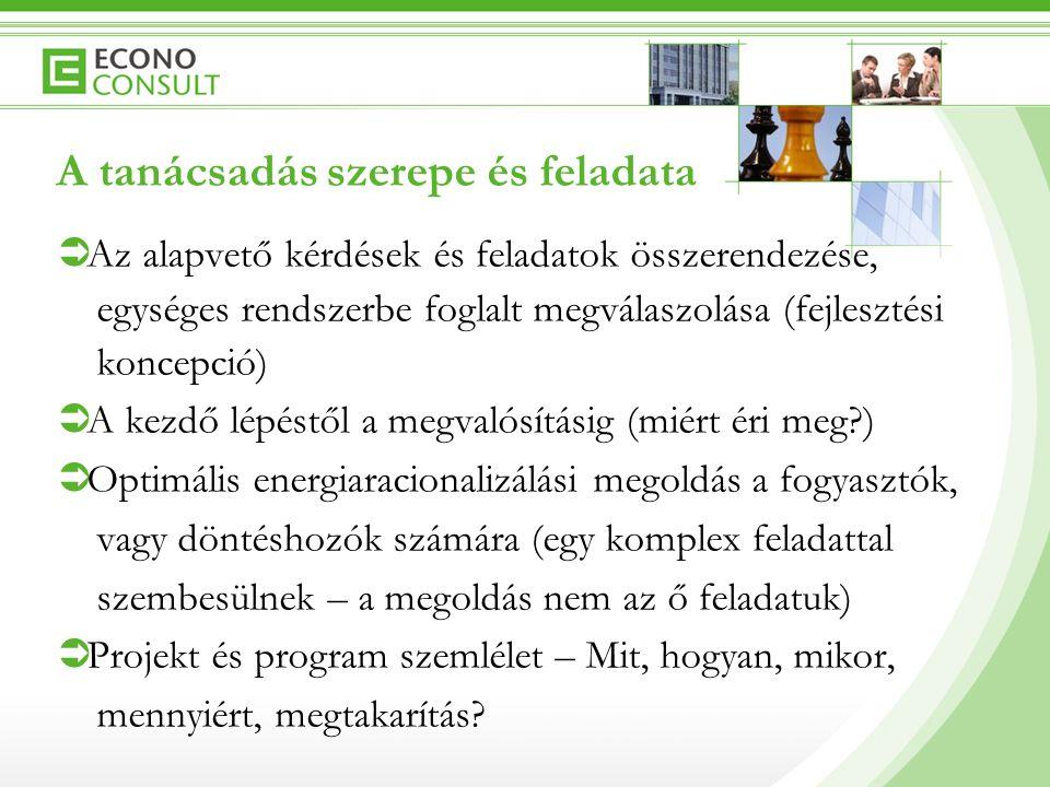 A tanácsadás szerepe és feladata  Az alapvető kérdések és feladatok összerendezése, egységes rendszerbe foglalt megválaszolása (fejlesztési koncepció