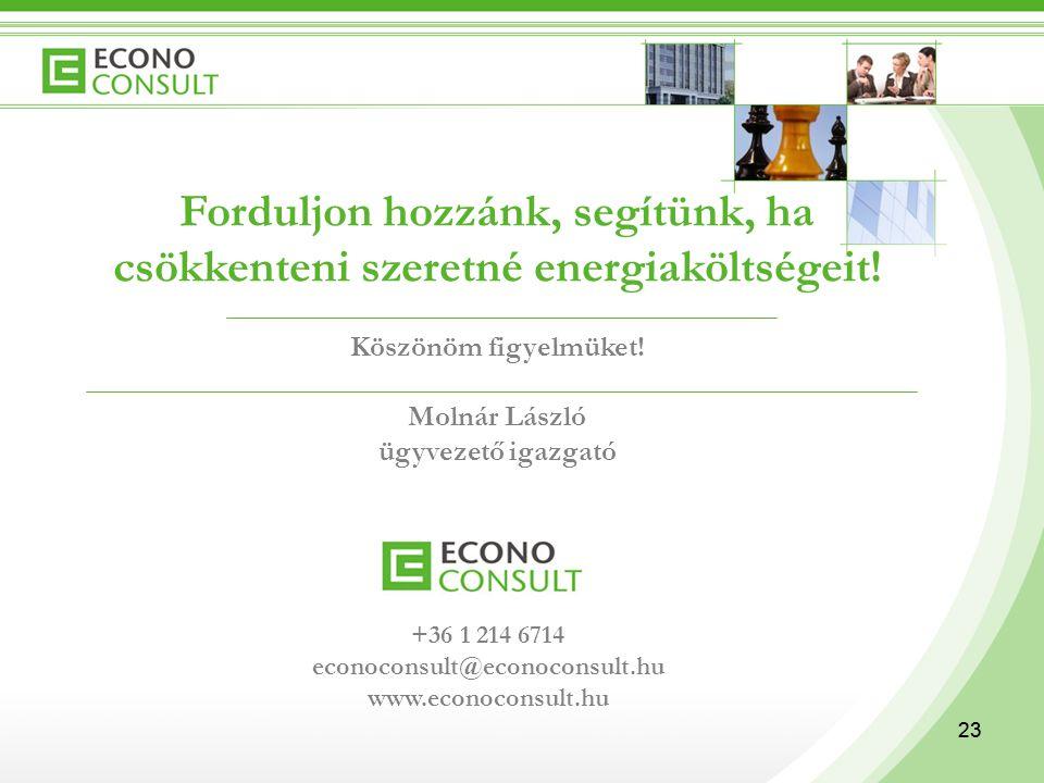 23 Forduljon hozzánk, segítünk, ha csökkenteni szeretné energiaköltségeit! Köszönöm figyelmüket! Molnár László ügyvezető igazgató +36 1 214 6714 econo