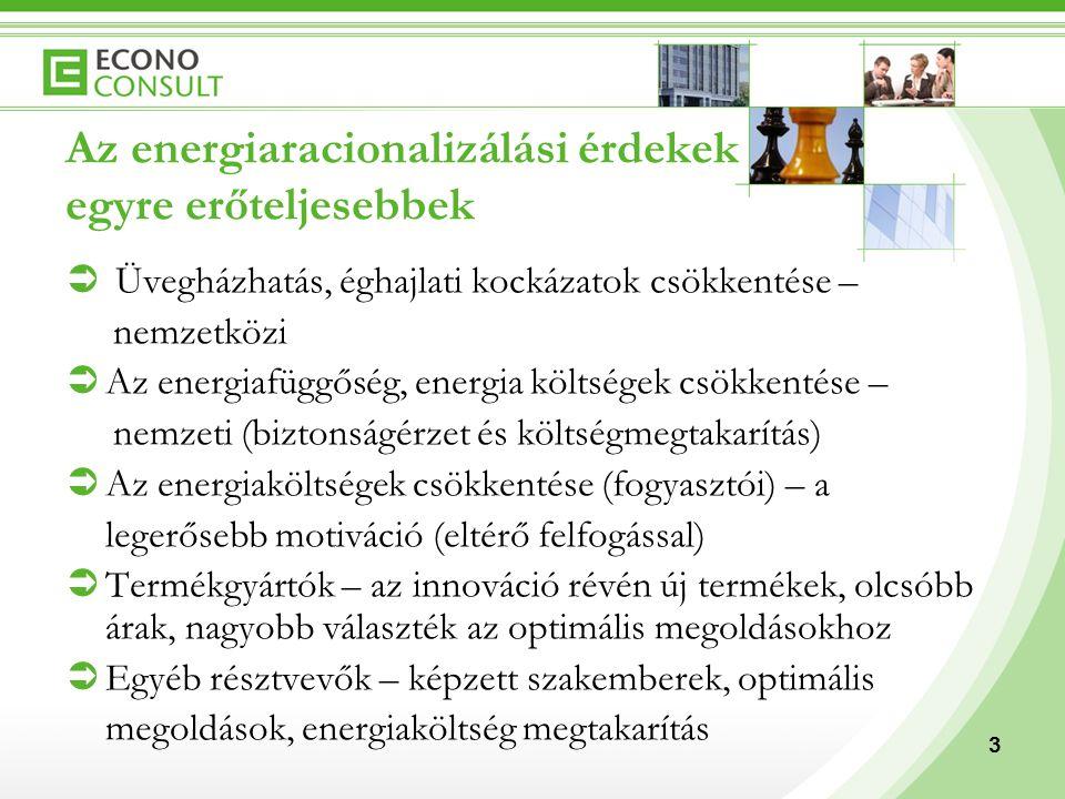 3 Az energiaracionalizálási érdekek egyre erőteljesebbek  Üvegházhatás, éghajlati kockázatok csökkentése – nemzetközi  Az energiafüggőség, energia k