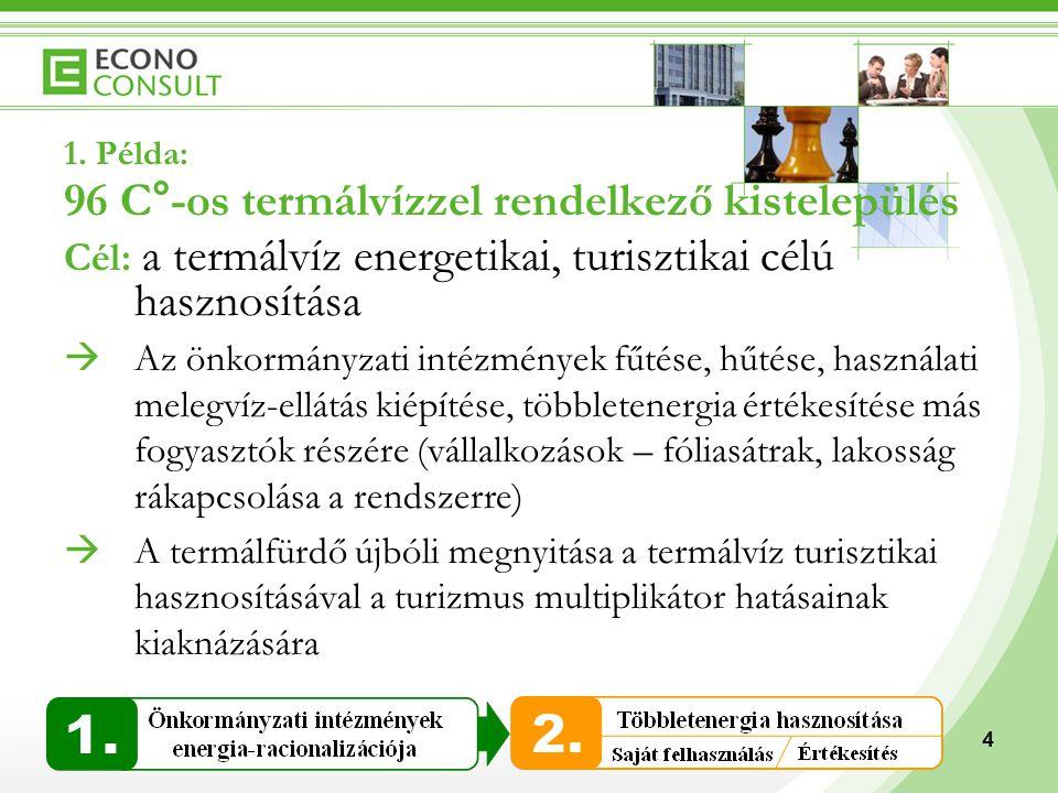 4 1. Példa: 96 C°-os termálvízzel rendelkező kistelepülés Cél: a termálvíz energetikai, turisztikai célú hasznosítása  Az önkormányzati intézmények f