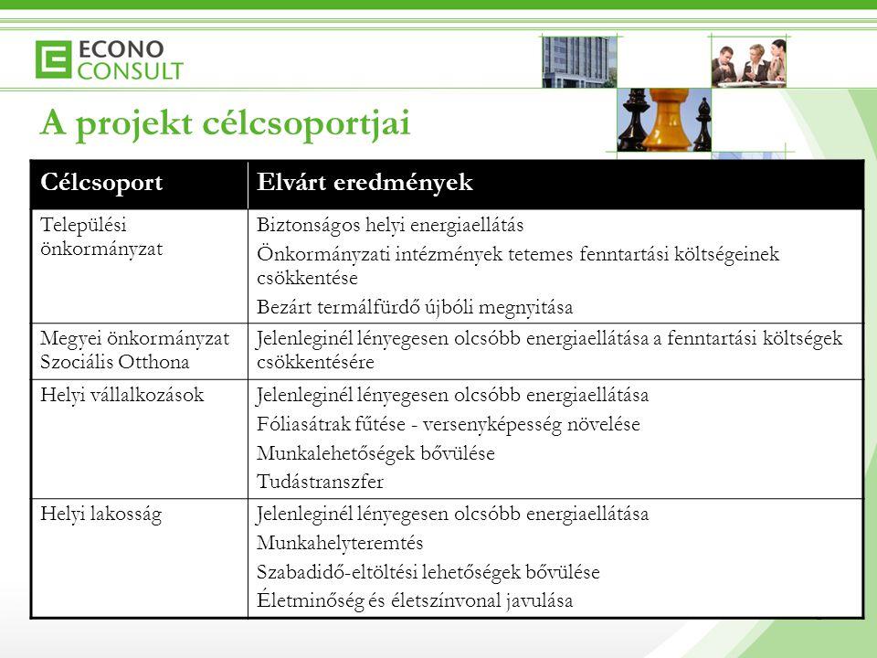 5 A projekt célcsoportjai 5 CélcsoportElvárt eredmények Települési önkormányzat Biztonságos helyi energiaellátás Önkormányzati intézmények tetemes fen