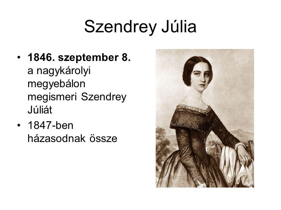 Szendrey Júlia •1846. szeptember 8. a nagykárolyi megyebálon megismeri Szendrey Júliát •1847-ben házasodnak össze