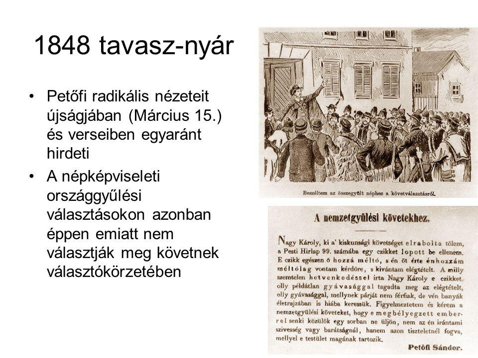 1848 tavasz-nyár •Petőfi radikális nézeteit újságjában (Március 15.) és verseiben egyaránt hirdeti •A népképviseleti országgyűlési választásokon azonb