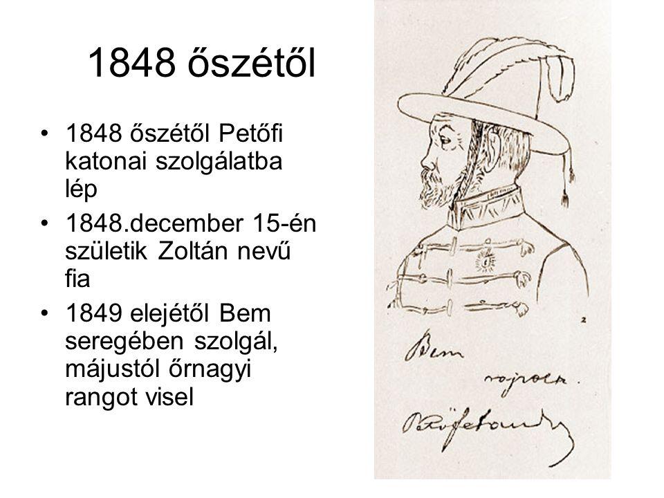 1848 őszétől •1848 őszétől Petőfi katonai szolgálatba lép •1848.december 15-én születik Zoltán nevű fia •1849 elejétől Bem seregében szolgál, májustól