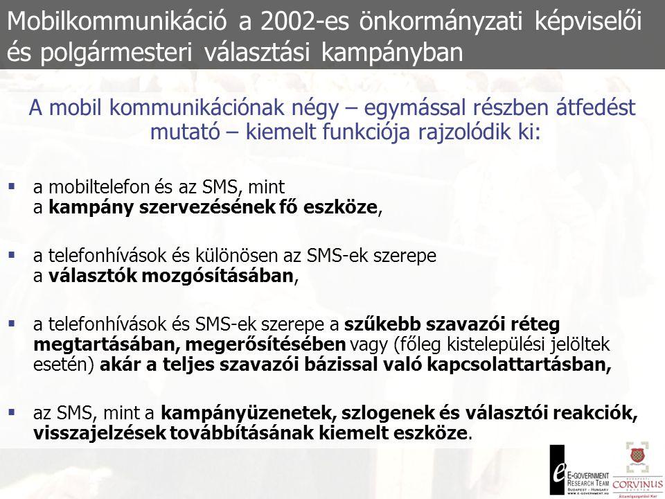 Mobilkommunikáció a 2002-es önkormányzati képviselői és polgármesteri választási kampányban  A fókuszcsoportok által megfogalmazott előnyök:  Azonnali információs és reagálási képesség  Rugalmas munkaidő  Hatékonyabb önkormányzati munkaszervezés  A fókuszcsoportok által megfogalmazott hátrányok:  A munkavégzés behatolása a magánszférába  Gazdasági megfontolásból jelentkező kényszer: több telefon  Hívás-szűrés, akár három telefonnal!