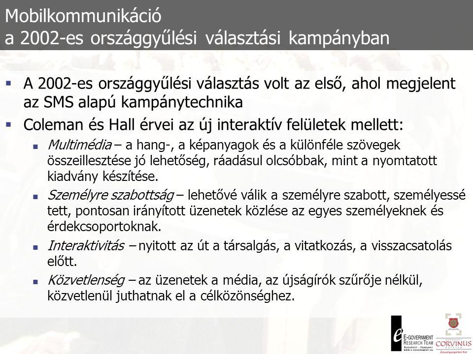 Mobilkommunikáció a 2002-es önkormányzati képviselői és polgármesteri választási kampányban  Mobil megoldások más kampányeszközök viszonylatában:  Új technikai lehetőségek (pl.: SMS fal)  Hitelesség – személyközeliség  Árelőny  Alternatív kommunikációs eszközök és konvergenciája  Fejlődési lehetőségek:  Multimédiás megoldások  Átláthatóság, e-kormányzás – függ az intézményi ellenérdekeltségtől  A felhasználói ismeretek szükségessége, m-szakadék