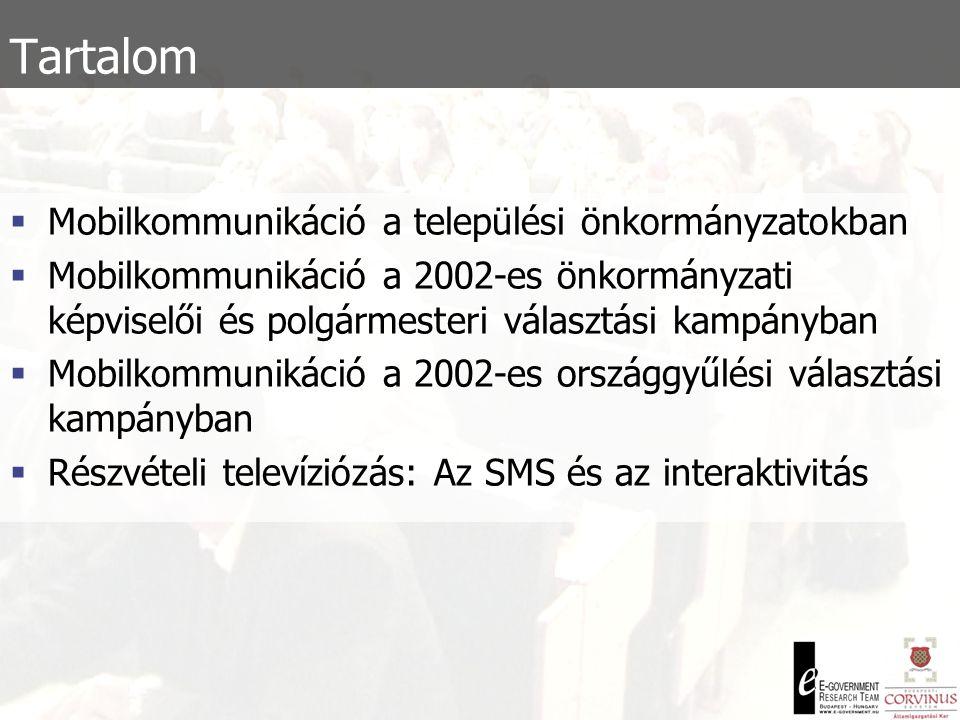 Tartalom  Mobilkommunikáció a települési önkormányzatokban  Mobilkommunikáció a 2002-es önkormányzati képviselői és polgármesteri választási kampányban  Mobilkommunikáció a 2002-es országgyűlési választási kampányban  Részvételi televíziózás: Az SMS és az interaktivitás