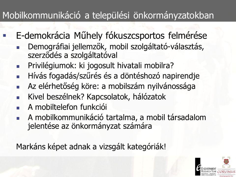 Mobilkommunikáció a 2002-es országgyűlési választási kampányban  A 2002-es országgyűlési választás volt az első, ahol megjelent az SMS alapú kampánytechnika  Coleman és Hall érvei az új interaktív felületek mellett:  Multimédia – a hang-, a képanyagok és a különféle szövegek összeillesztése jó lehetőség, ráadásul olcsóbbak, mint a nyomtatott kiadvány készítése.