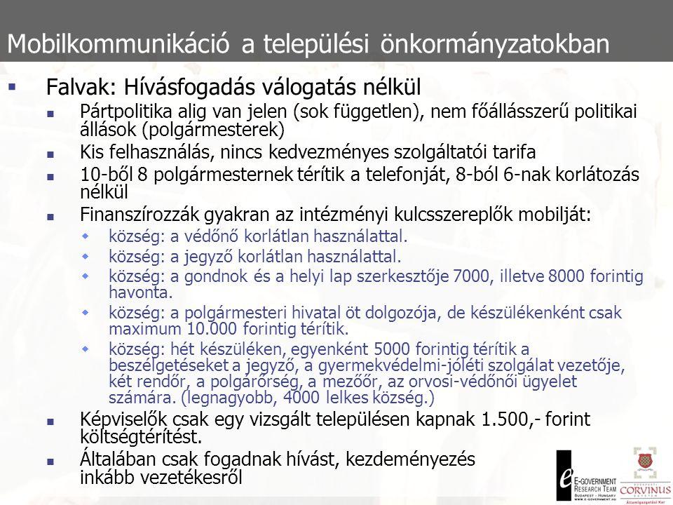Mobilkommunikáció a települési önkormányzatokban  Falvak: Hívásfogadás válogatás nélkül  Pártpolitika alig van jelen (sok független), nem főállásszerű politikai állások (polgármesterek)  Kis felhasználás, nincs kedvezményes szolgáltatói tarifa  10-ből 8 polgármesternek térítik a telefonját, 8-ból 6-nak korlátozás nélkül  Finanszírozzák gyakran az intézményi kulcsszereplők mobilját:  község: a védőnő korlátlan használattal.