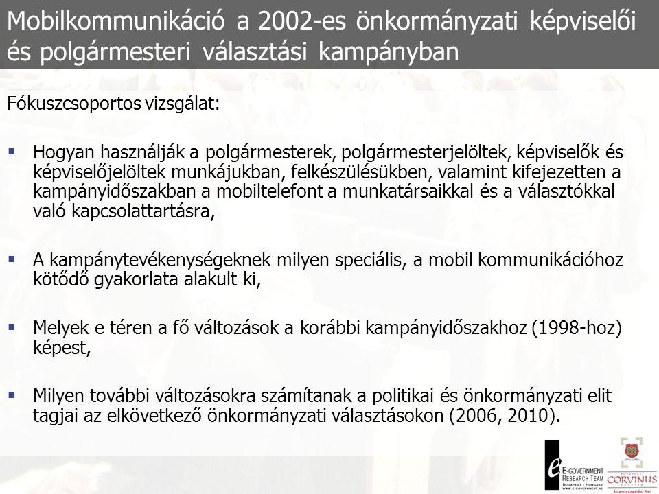 Mobilkommunikáció a 2002-es önkormányzati képviselői és polgármesteri választási kampányban Fókuszcsoportos vizsgálat:  Hogyan használják a polgármesterek, polgármesterjelöltek, képviselők és képviselőjelöltek munkájukban, felkészülésükben, valamint kifejezetten a kampányidőszakban a mobiltelefont a munkatársaikkal és a választókkal való kapcsolattartásra,  A kampánytevékenységeknek milyen speciális, a mobil kommunikációhoz kötődő gyakorlata alakult ki,  Melyek e téren a fő változások a korábbi kampányidőszakhoz (1998-hoz) képest,  Milyen további változásokra számítanak a politikai és önkormányzati elit tagjai az elkövetkező önkormányzati választásokon (2006, 2010).