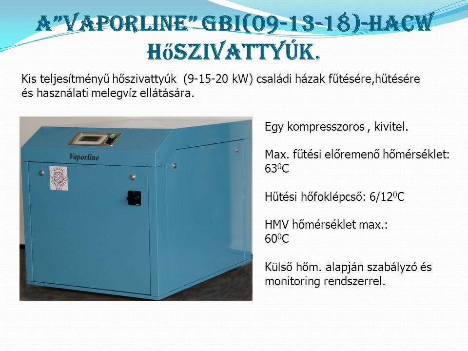 """A""""Vaporline"""" GBI(09-13-18)-HACW h ő szivattyúk. Egy kompresszoros, kivitel. Max. fűtési előremenő hőmérséklet: 63 0 C Hűtési hőfoklépcső: 6/12 0 C HMV"""