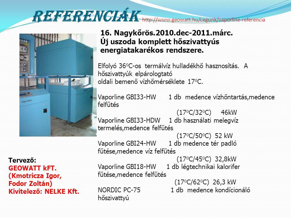 Referenciák http://www.geowatt.hu/cegunk/vaporline-referencia Elfolyó 36 0 C-os termálvíz hulladékhő hasznosítás. A hőszivattyúk elpárologtató oldali
