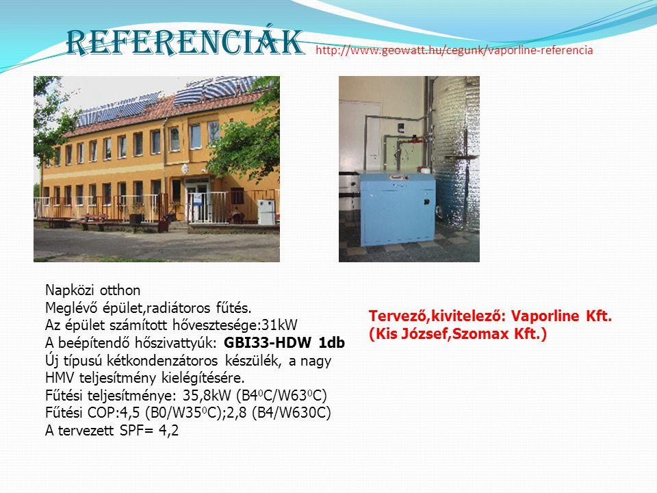 Referenciák http://www.geowatt.hu/cegunk/vaporline-referencia Napközi otthon Meglévő épület,radiátoros fűtés. Az épület számított hővesztesége:31kW A