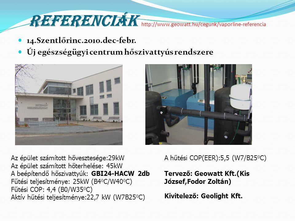Referenciák http://www.geowatt.hu/cegunk/vaporline-referencia  14.Szentlőrinc.2010.dec-febr.  Új egészségügyi centrum hőszivattyús rendszere Az épül
