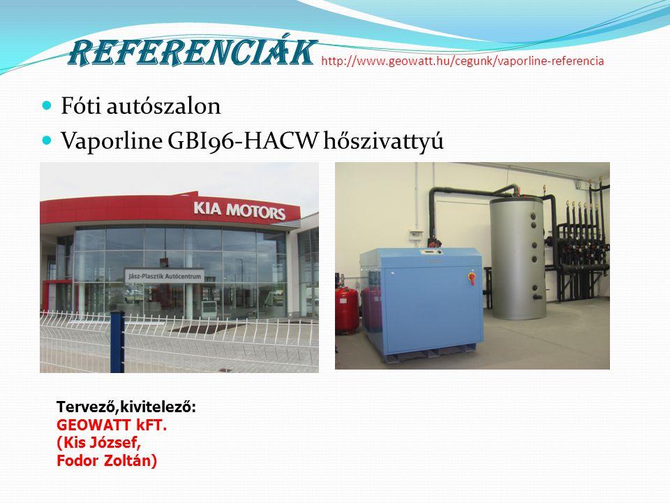 Referenciák http://www.geowatt.hu/cegunk/vaporline-referencia  Fóti autószalon  Vaporline GBI96-HACW hőszivattyú Tervező,kivitelező: GEOWATT kFT. (K