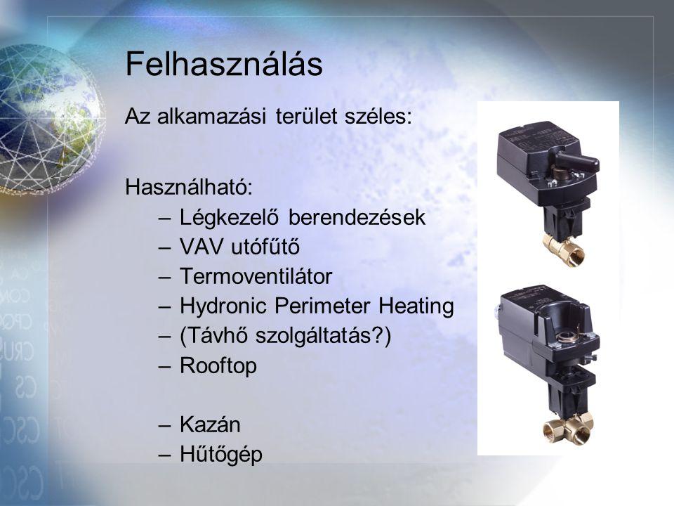 Felhasználás Használható: –Légkezelő berendezések –VAV utófűtő –Termoventilátor –Hydronic Perimeter Heating –(Távhő szolgáltatás?) –Rooftop –Kazán –Hű