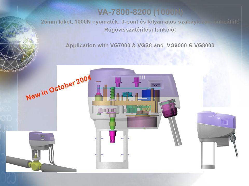 VA-7800-8200 (1000N) 25mm löket, 1000N nyomaték, 3-pont és folyamatos szabáylozás, önbeállító Rúgóvisszatérítési funkció! Application with VG7000 & VG