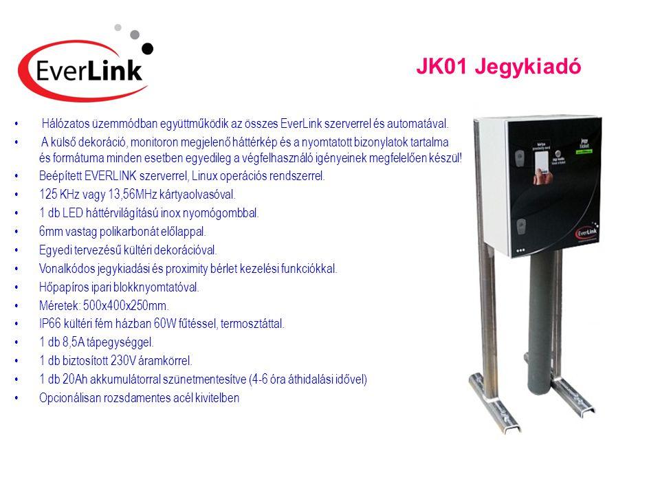 JK01 Jegykiadó • Hálózatos üzemmódban együttműködik az összes EverLink szerverrel és automatával. • A külső dekoráció, monitoron megjelenő háttérkép é