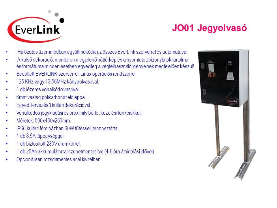 JO01 Jegyolvasó • Hálózatos üzemmódban együttműködik az összes EverLink szerverrel és automatával. • A külső dekoráció, monitoron megjelenő háttérkép