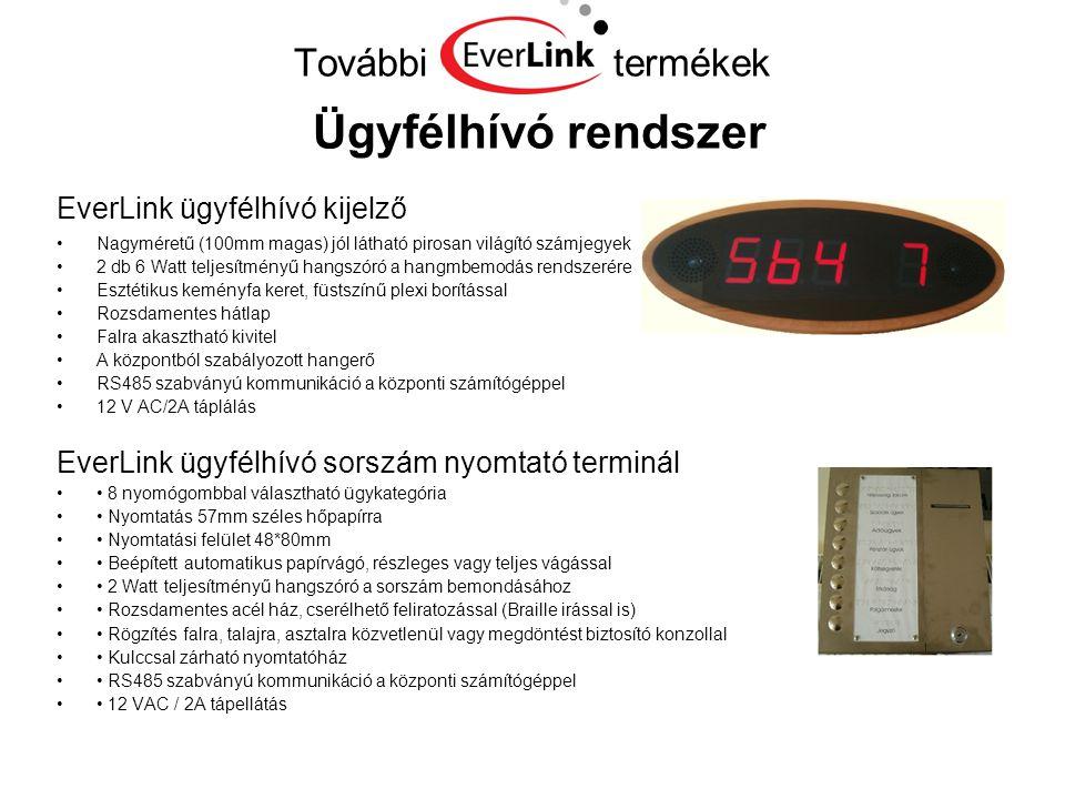 További termékek Ügyfélhívó rendszer EverLink ügyfélhívó kijelző •Nagyméretű (100mm magas) jól látható pirosan világító számjegyek •2 db 6 Watt teljes
