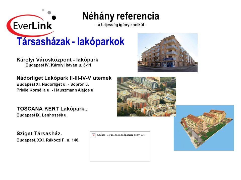 Néhány referencia - a teljesség igénye nélkül - Társasházak - lakóparkok Károlyi Városközpont - lakópark Budapest IV. Károlyi István u. 5-11 Nádorlige