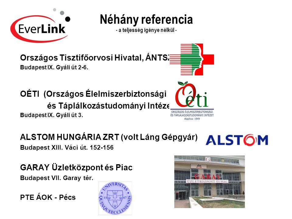 Néhány referencia - a teljesség igénye nélkül - Országos Tisztifőorvosi Hivatal, ÁNTSZ Budapest IX. Gyáli út 2-6. OÉTI (Országos Élelmiszerbiztonsági