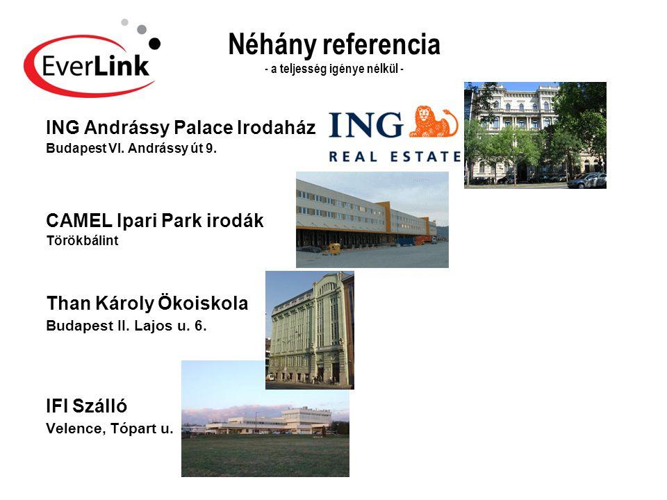 Néhány referencia - a teljesség igénye nélkül - ING Andrássy Palace Irodaház Budapest VI. Andrássy út 9. CAMEL Ipari Park irodák Törökbálint Than Káro