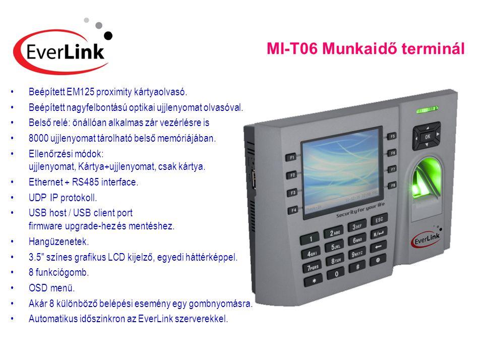 MI-T06 Munkaidő terminál •Beépített EM125 proximity kártyaolvasó. •Beépített nagyfelbontású optikai ujjlenyomat olvasóval. •Belső relé: önállóan alkal