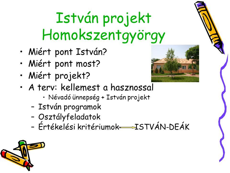 István projekt Homokszentgyörgy •M•Miért pont István.
