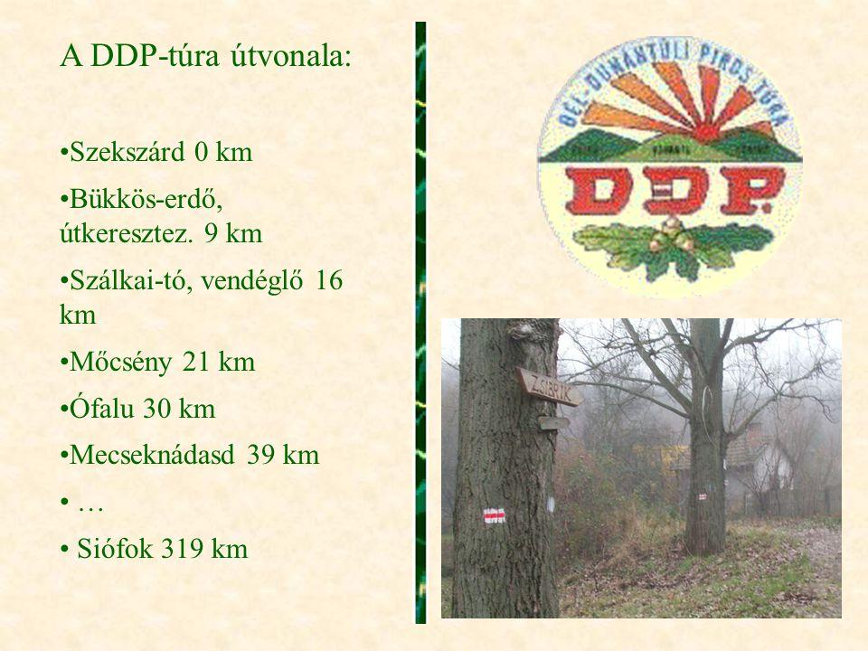 A DDP-túra útvonala: •Szekszárd 0 km •Bükkös-erdő, útkeresztez. 9 km •Szálkai-tó, vendéglő 16 km •Mőcsény 21 km •Ófalu 30 km •Mecseknádasd 39 km • … •