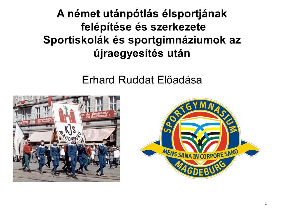 A német utánpótlás élsportjának felépítése és szerkezete Sportiskolák és sportgimnáziumok az újraegyesítés után Erhard Ruddat Előadása 1