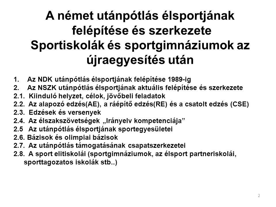 A német utánpótlás élsportjának felépítése és szerkezete Sportiskolák és sportgimnáziumok az újraegyesítés után 1. Az NDK utánpótlás élsportjának felé