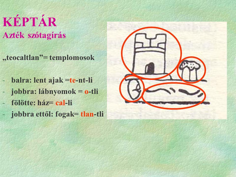 """KÉPTÁR Azték szótagírás """"teocaltlan = templomosok -balra: lent ajak =te-nt-li -jobbra: lábnyomok = o-tli -fölötte: ház= cal-li -jobbra ettől: fogak= tlan-tli"""