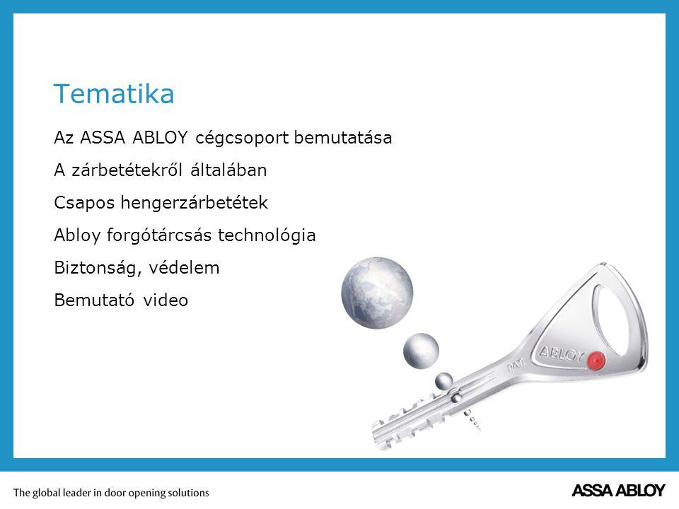 Tematika Az ASSA ABLOY cégcsoport bemutatása A zárbetétekről általában Csapos hengerzárbetétek Abloy forgótárcsás technológia Biztonság, védelem Bemut