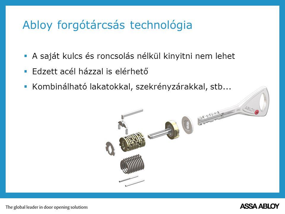 Abloy forgótárcsás technológia  A saját kulcs és roncsolás nélkül kinyitni nem lehet  Edzett acél házzal is elérhető  Kombinálható lakatokkal, szek