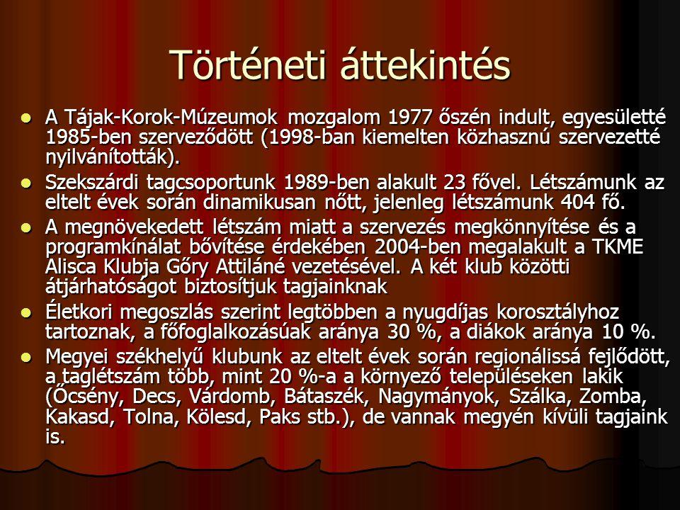 Történeti áttekintés  A Tájak-Korok-Múzeumok mozgalom 1977 őszén indult, egyesületté 1985-ben szerveződött (1998-ban kiemelten közhasznú szervezetté