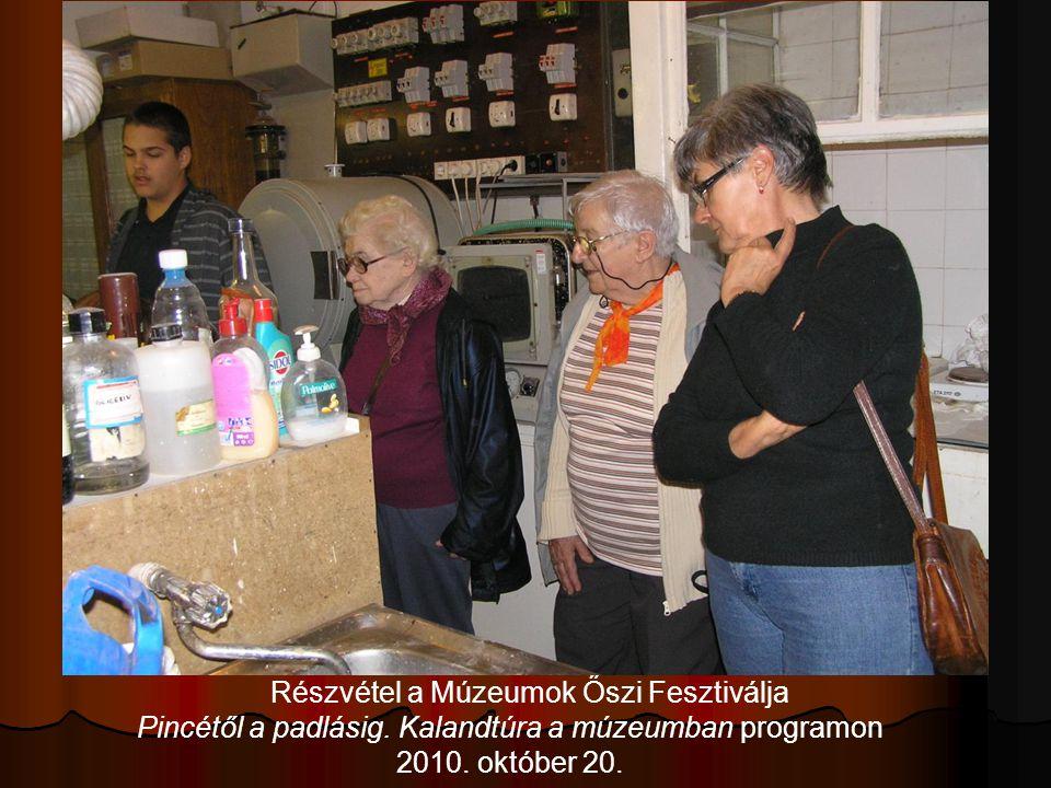 Részvétel a Múzeumok Őszi Fesztiválja Pincétől a padlásig. Kalandtúra a múzeumban programon 2010. október 20.
