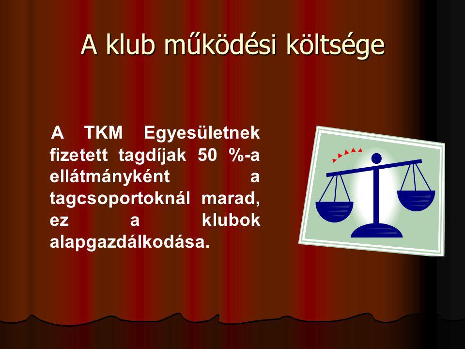 A klub működési költsége A TKM Egyesületnek fizetett tagdíjak 50 %-a ellátmányként a tagcsoportoknál marad, ez a klubok alapgazdálkodása.