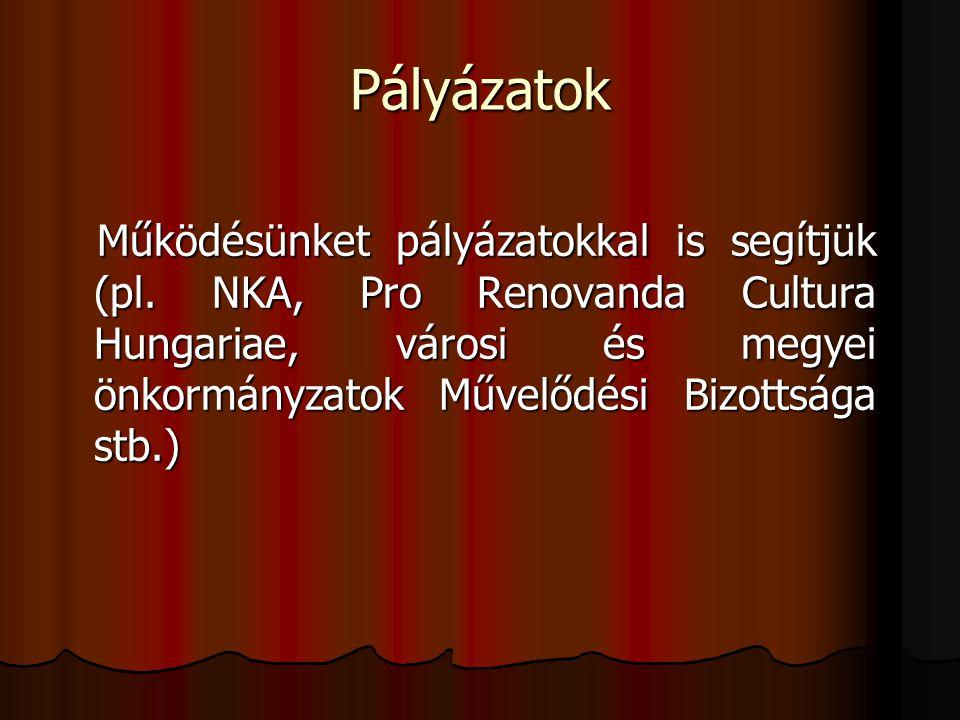 Pályázatok Működésünket pályázatokkal is segítjük (pl. NKA, Pro Renovanda Cultura Hungariae, városi és megyei önkormányzatok Művelődési Bizottsága stb
