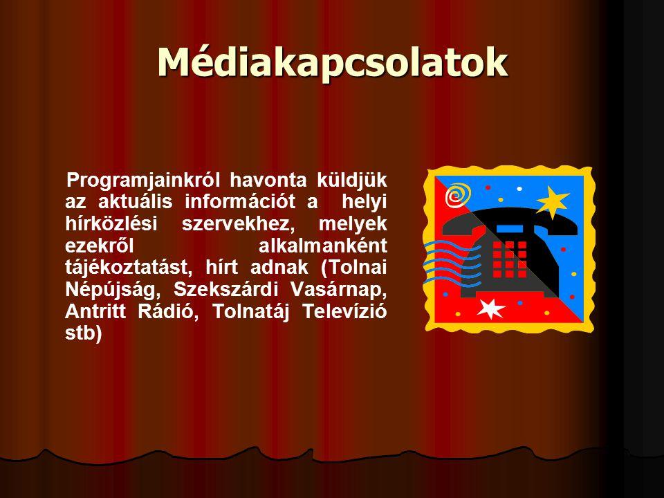 Médiakapcsolatok Programjainkról havonta küldjük az aktuális információt a helyi hírközlési szervekhez, melyek ezekről alkalmanként tájékoztatást, hír