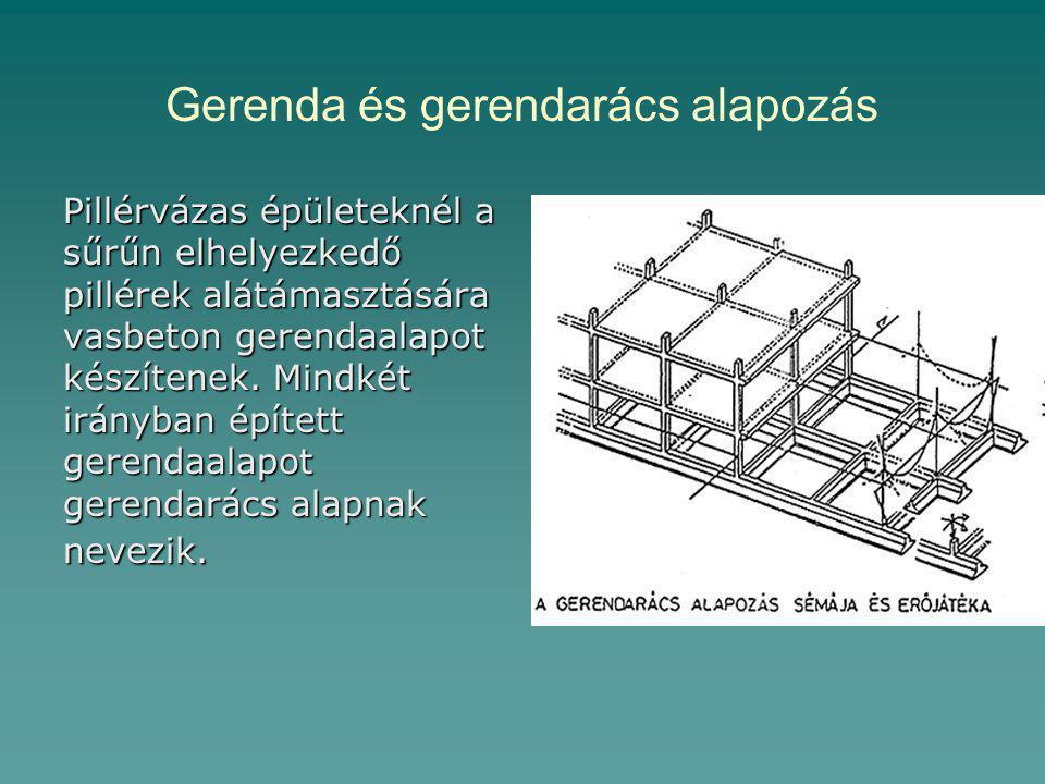 Gerenda és gerendarács alapozás Pillérvázas épületeknél a sűrűn elhelyezkedő pillérek alátámasztására vasbeton gerendaalapot készítenek.